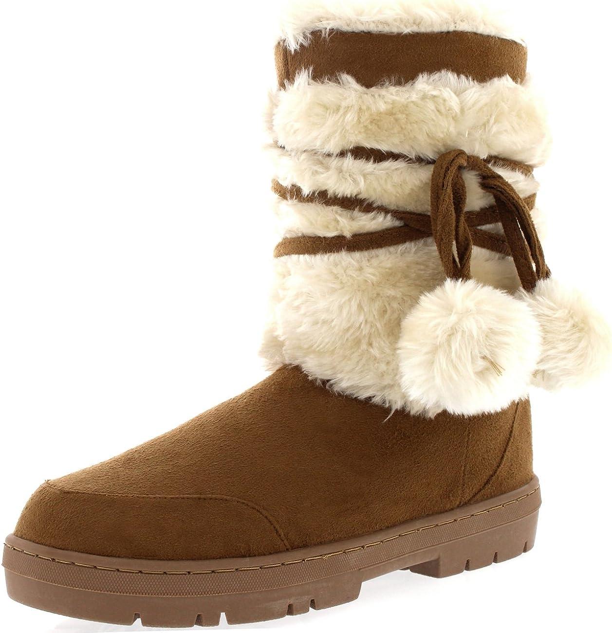 Holly Womens Pom Pom Waterproof Winter Snow Boots
