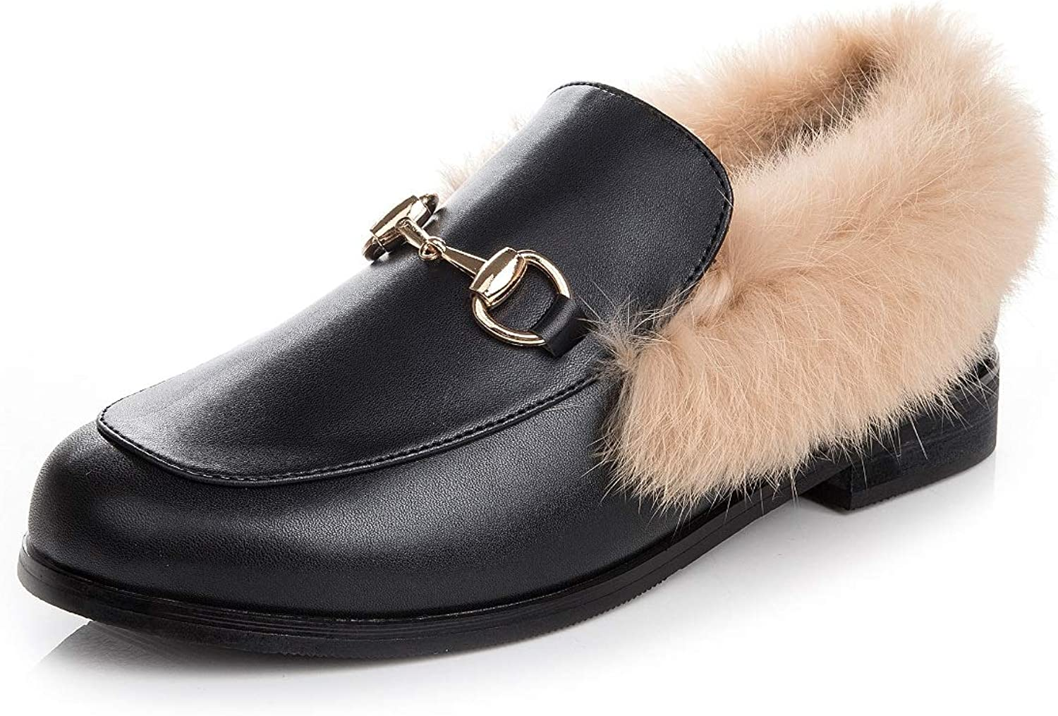 Women's Fur Lining Waterproof Winter Outdoor Non-Slip Warm Flat shoes Ankle Snow Boots Rabbit Fur Decoration Low to Help Casual Comfort shoes
