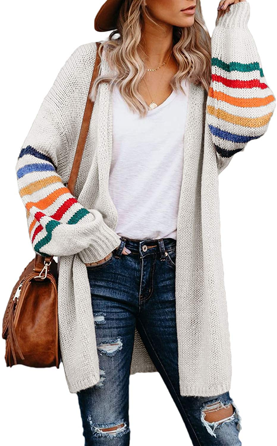 Dokotoo Women's Long Open Front Cardigans Striped Color Block Loose Knit Sweaters Outwear Coat