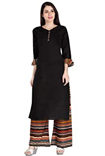 Rani Saahiba Women's Cotton Kurta With Palazzo Pant Set