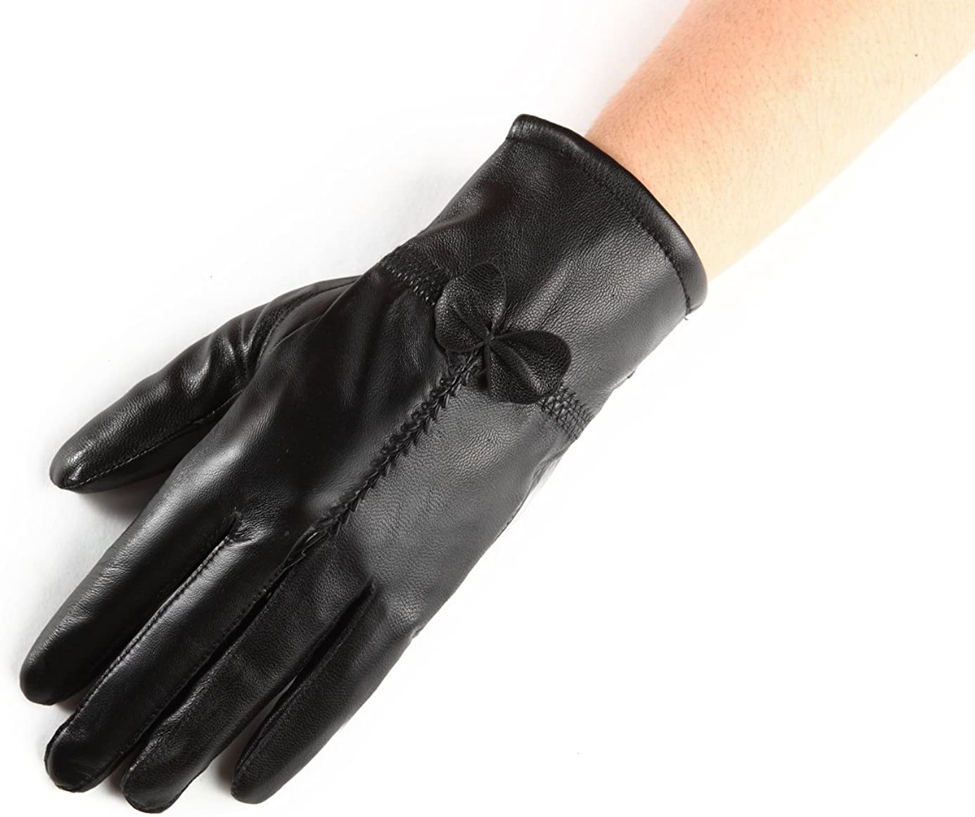 Chickle Women's Cold Weather Warm Lined Smartouch Lambskin leather Gloves