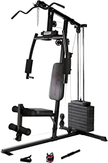 Marcy 120 Lb. Single Stack Home Gym with Pulley, Press Arm, Leg Developer Multifunctional Workout Station for Weightlifting and Body Building MKM-1101