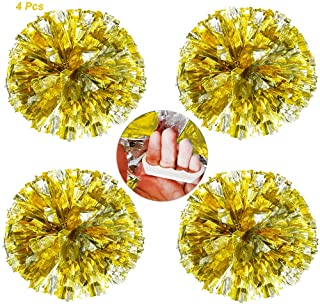 AUHOKY 4 Packs Cheerleading Pom Poms with Finger-Friendly Ring, Bright Metallic Cheerleader Pompoms, Premium Cheering Squad Hand Flowers for Sports Game Dance Dress Party - 80g/per
