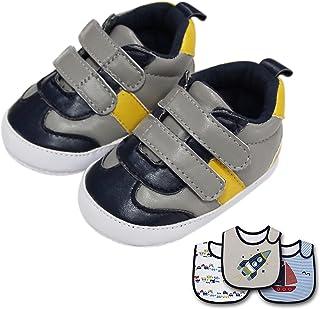 Sponsored Ad - puppet Baby Boy Bibs+Shoes, Pack of 4 (3 Pcs Cotton Bib, 1 Pair Sneakers) (Rocket)