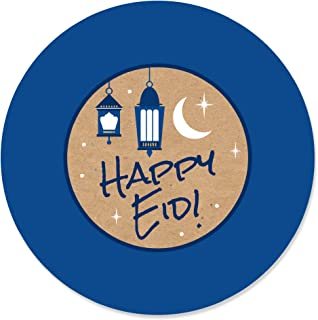Big Dot of Happiness Ramadan - Eid Mubarak Circle Sticker Labels - 24 Count
