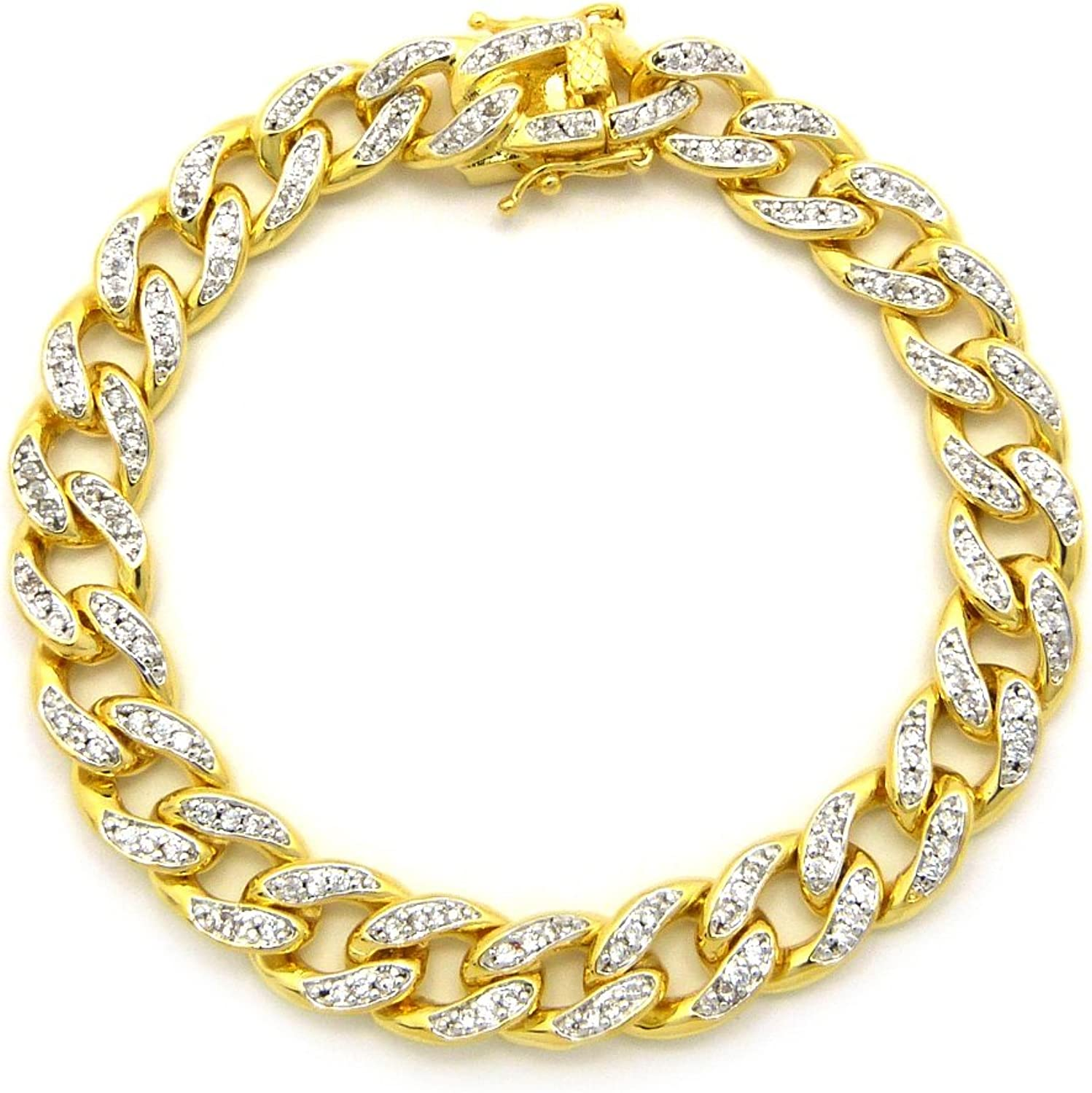 All stores are sold NYFASHION101 10mm Cubic High quality new Zirconia Heavy Plated C Gold Cuban Miami