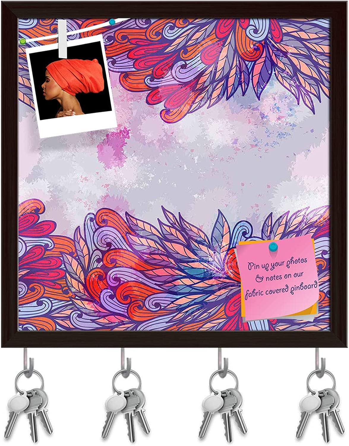 Artzfolio Pink & purple Element Key Holder Hooks   Notice Pin Board   Dark Brown Frame 20 X 20Inch