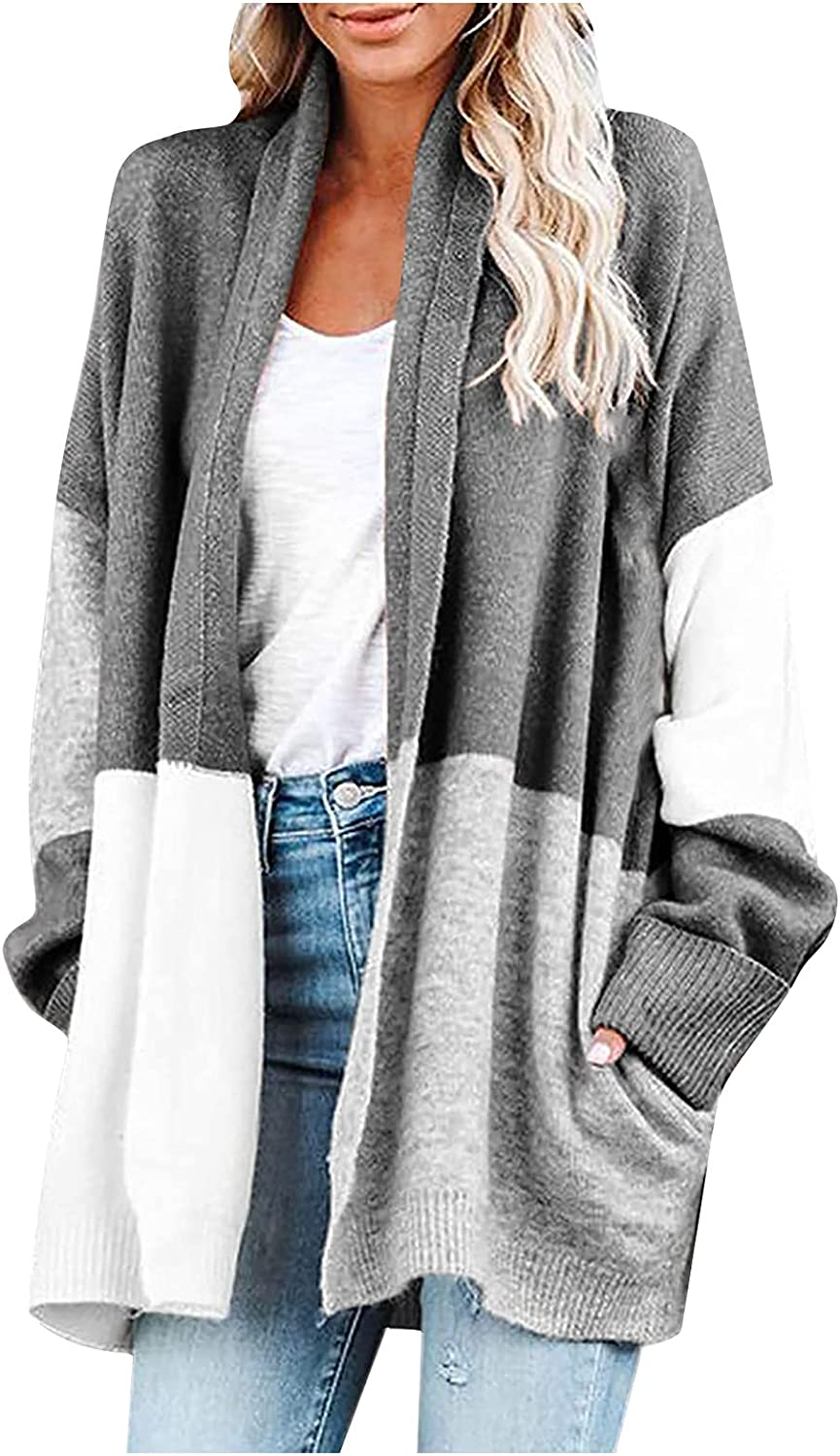 SERYU Women Long Sleeve Cardigans Open Front Patchwork Lightweight Sweaters Casual Loose Coats