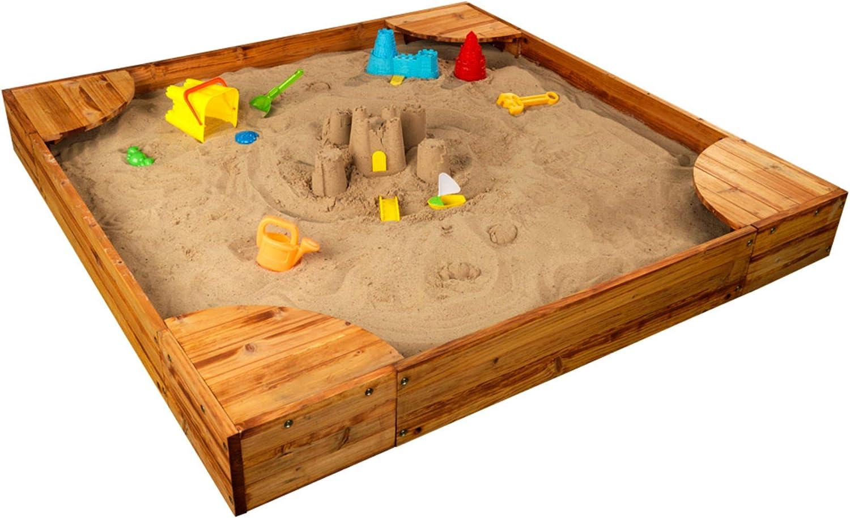 Buy KidKraft Wooden Backyard Sandbox with Built-in Corner Seating and Mesh  Cover, Honey ,Gift for Ages 2-8 ,59.1 x 59 x 8.4 Online in Vietnam.  B001U4ZEZQ