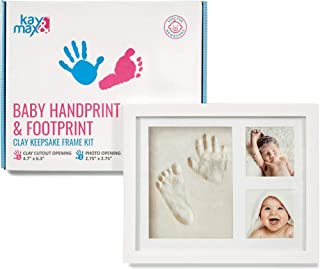Baby Handprint & Footprint Kit by Kay&Max - Premium No Mold and Non Toxic Clay - Keepsake Wood Picture Frame Box - Memory Photo Ornament Set - for Newborn Boy & Girl Personalized First Shower Gifts