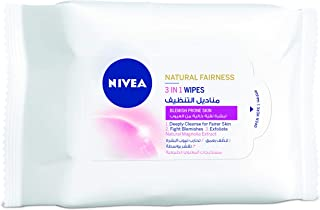 Nivea Natural Fairness 3 in 1 Wipes, 20 Count