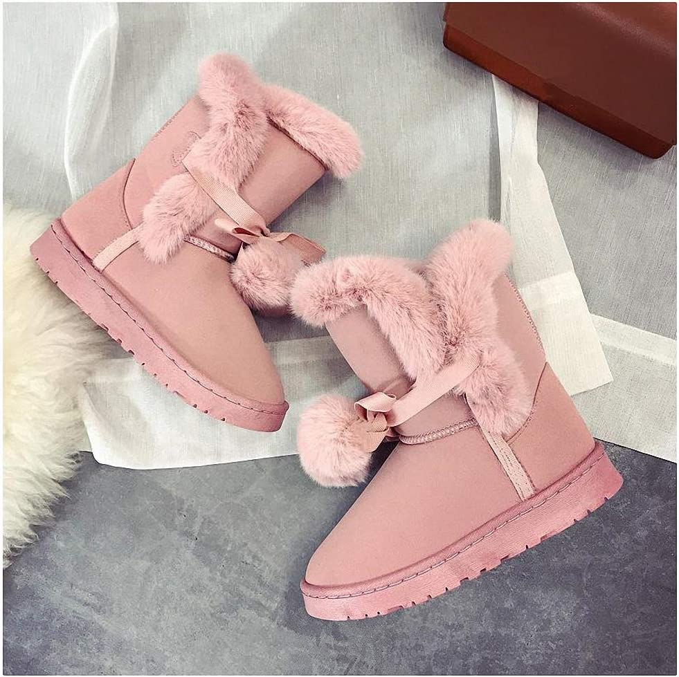 Womens Backpacking Boots Warm Fur Women Snow Boots Cute Suede Winter Shoes Fur Ball Mid-Calf Boots Female Fashion Boots Non-Slip Snow Casual Shoe Abt1045