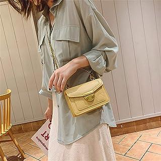 ZZZ Women Bag Korean Version Of The Metal Portable Fashion Embroidery Shoulder Trend Chain Oblique Chic fashion (Color : Yellow)