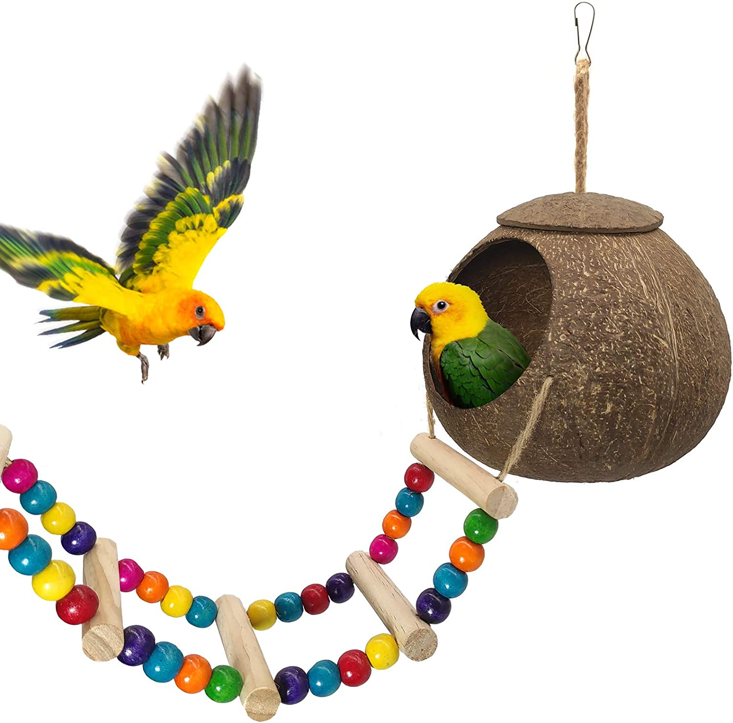 Cheap super special price Hanging Coconut Bird House with Fiber Ladder Special sale item She Natural