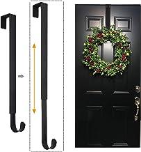 LBSUN Wreath Hanger, Adjustable Over The Door Wreath Hanger & Wreath Holder & Wreath Hook for Door (Black)