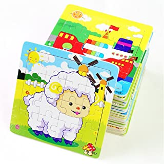 PROW® Wooden Jigsaws 16 Piece Toddler Square Puzzle Toy Elephant Panda Puppy Little Lamb Ship Train Plane Goose Cow Tiger Cock Frog Safe Education Learning Toys (12 pack,each 16 pcs)