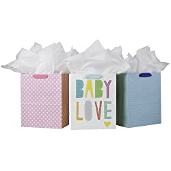 """Hallmark 13"""" Large Gift Bags with Tissue Paper - Pack of 3 for Baby Showers, New Moms and More (Baby"""