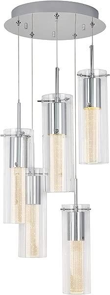 Artika OME64B HD2 精华螺旋 5 吊坠室内灯具集成 Led 与优质玻璃和可调光铬完成