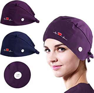 NOVWANG 2 PCS Head Covers for Women Men Adjustable Working Caps with Buttons and Cotton Sweatband, One Size