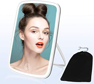 YCH Vanity Mirror, Makeup Mirror, 2400mAh Makeup Mirror with Lights, 3 Colors LED Mirror Touch Dimmable Lighted Makeup Mirror Memory Function Portable Travel Mirror