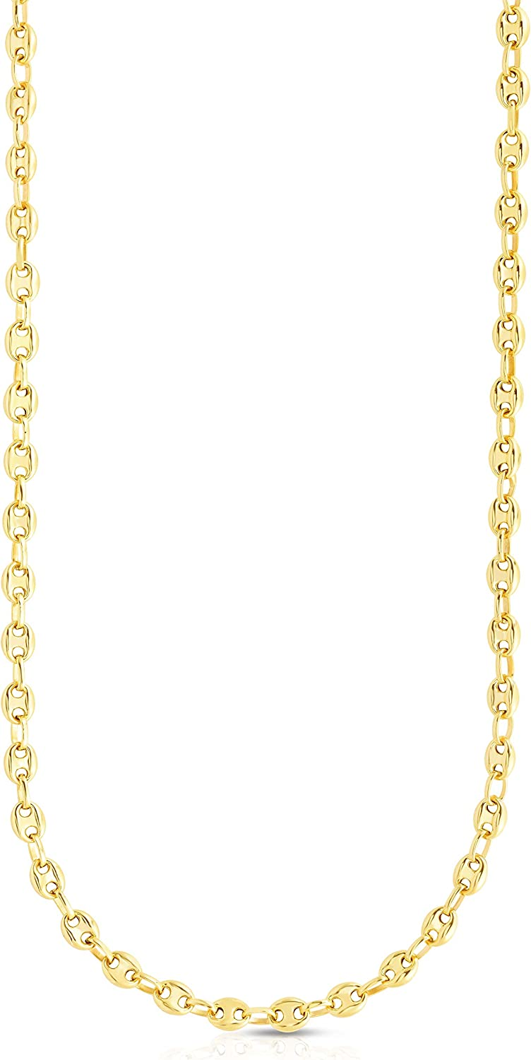 Floreo 10k Yellow Gold 6.5mm Puff Mariner Chain Necklace