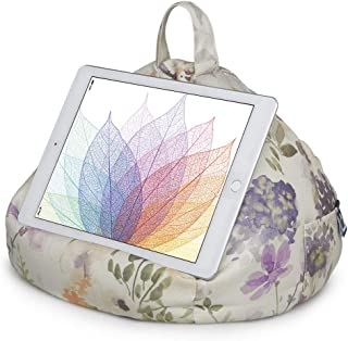 iPad Pillow & Tablet Stand - Securely Holds Any Size Tablet, eReader or Book Upto 12.9 inches, Hands Free Comfort at Any Angle on Any Surface - Floral Plum, by iBeani