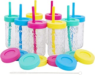 Kids 12oz Glass Mason Jar Drinking Cups with Straw Lids + Leak Proof Regular Lids + Silicone Straws + Cleaning Brush - Spill Proof, Sippy Cups for Toddlers, Kids Drinking Glasses, Food Storage-8 Pack