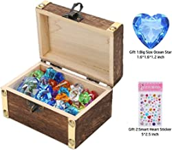 Children Gems/Diamonds Toys with Antique Wood Treasure Chest Toy (70pcs Ice Gems & 10pcs Diamonds) for Boy/Girl Birthday/Christmas/Easter Gifts for Seeking Treasure/Role-play/Family Game/Pirate Game