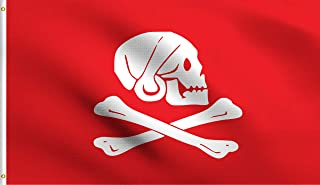 DMSE Henry Every Red Jolly Roger Skull Crossbones Death Pirate Flag 3X5 Ft Foot 100% Polyester 100D Flag UV Resistant (3'X5' Ft Foot)