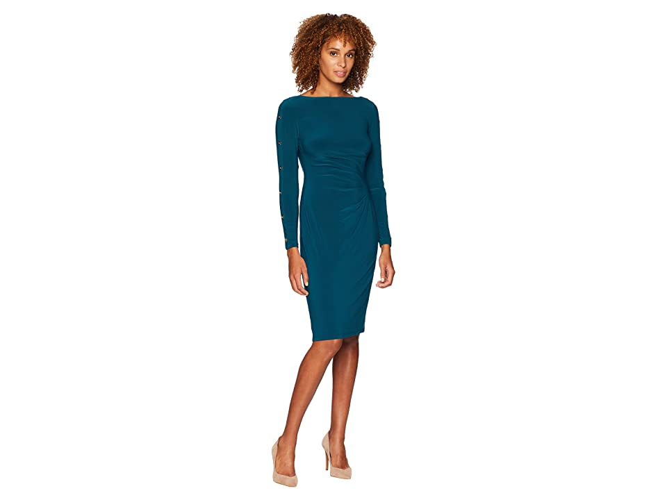 LAUREN Ralph Lauren Matte Jersey Sagie Long Sleeve Day Dress (Spruce/Gold) Women