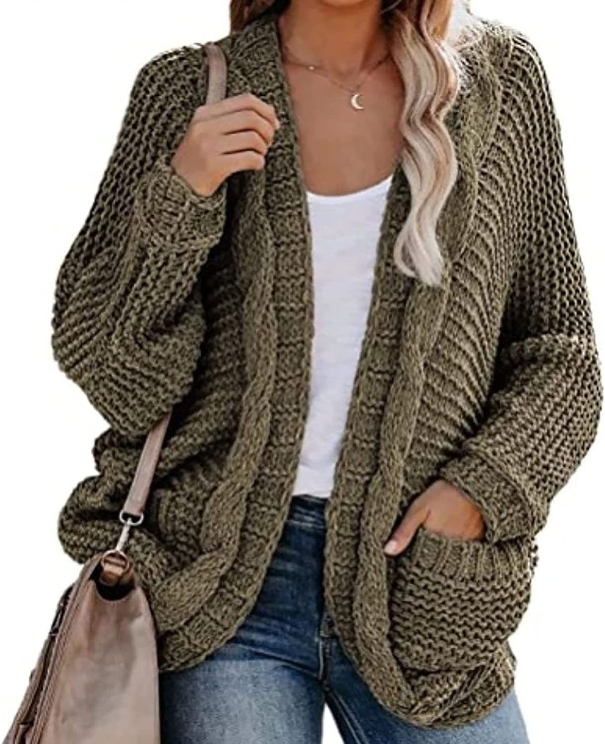Cardigan for Women Oversized Wrap Chunky Pocket Sweaters Coat Loose Slouchy Knit Cardigans Outerwear