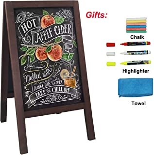 HUAZI A Frame Chalkboard Blackboard Sidewalk Sign 40 x 20 inches Sandwich Board Promotion Menu Display with Liquid & Solid Chalk for Business Wedding Restaurant Party Cafe