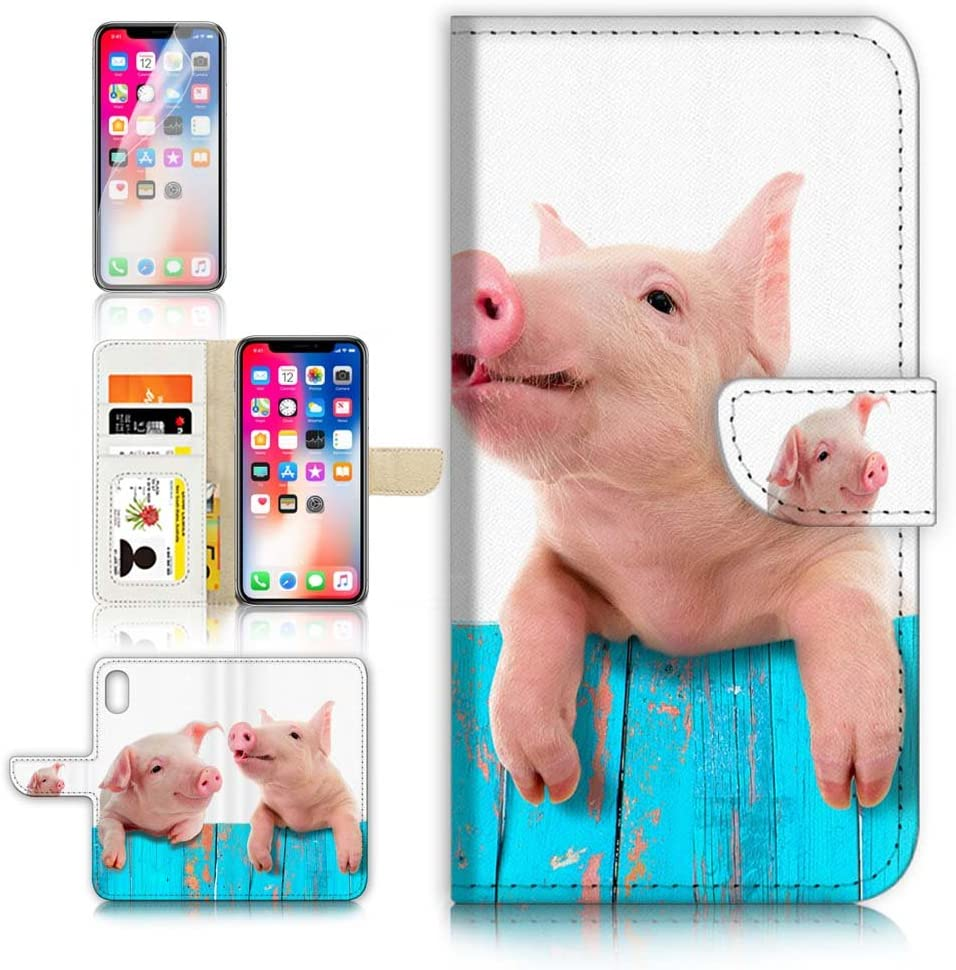 (for iPhone XR) Flip Wallet Case Cover & Screen Protector Bundle - A8645 Cute Pig