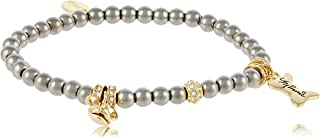 Disney by Couture Kingdom Women's Minnie Beaded Bracelet,Yellow Gold, 8x0.5x0.5