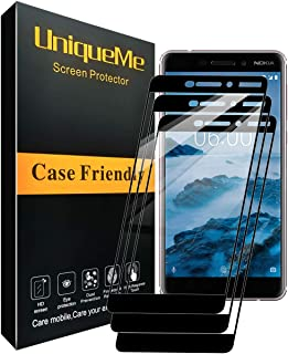 [3 Pack] INGLE Compatible with Nokia 6.1 / Nokia 6 2018 Screen Protector, Full Coverage Tempered Glass Screen Protector Film Edge to Edge Protection for Nokia6.1 / Nokia 6 2018【Not Fit for Nokia 6】