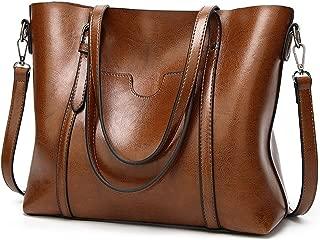 UTO Women Tote Bag Soft PU Leather Shoulder Bags Large Capacity Shopper Handbag A Brown