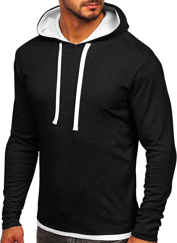 Hoodies for Men Fashion Plain Athletic Hoodies Color-blocked Sport Sweatshirt Long Sleeve Pullover Drawstring Tops