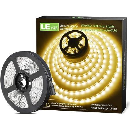 LE Ruban LED Blanc Chaud 5m, Bande LED Autocollant 300 LEDs SMD 2835 3000K, Bande LED Lumineuse 18W 1200lm pour Chambre, Plafond, Vitrine(12V Adaptateur Secteur Non Inclus)