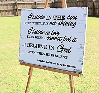 Vontuxe I Believe in The Sun Even When It is Not Shining Carved Wood Sign Inspirational Quote Engraved Wood Wall Art Wood Holocaust Sign