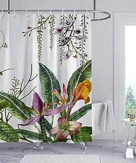 پرده دوش گل wtisan ، پرده دوش گرمسیری ، پرده دوش پارچه ای ضد آب برای حمام با 12 قلاب پلاستیکی ، 72x72 اینچ