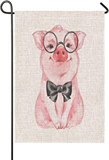 Beabes Funny Piggy Garden Flag Lovely Pink Pig Rustic Farm Animals Wearing Glasses Bow Knot Summer Seasonal Garden Flag Ou...