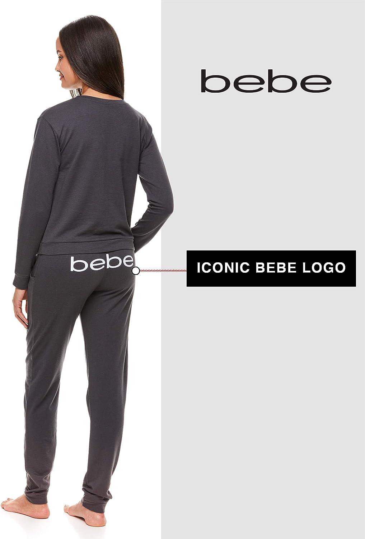 bebe Womens Cuffed Long Sleeve Shirt and Skinny Lounge Pajama Pants Sleep Set