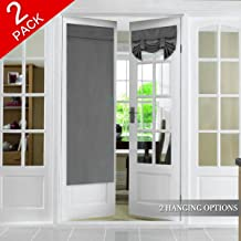 Blackout Window Door Curtains, Deep Grey (2 Panels) for Double French Door, Rod Pocket Light Filtering Curtain Draperies for Glass Door, Energy Saving Noise Reducing, 2 Panels, 26