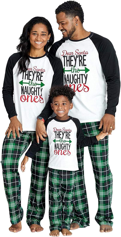 IFFEI Matching Family Pajamas Sets Christmas PJ's Letter Print Top and Plaid Bottom Sleepwear Jammies Men L