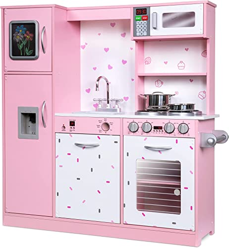 discount Jumbl Kids Kitchen Set, Pretend Wooden Play Kitchen, Battery Operated outlet sale Icemaker & Microwave with Realistic Sound, Pots & sale Pan Included - Pink sale