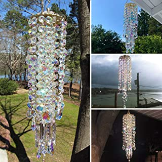 Clear /& AB Iridescent with teal blue Agate CRYSTAL WINDCHIME Suncatcher Aurora Borealis Prisms Chandelier wind chimes chime Deco Teal Aqua