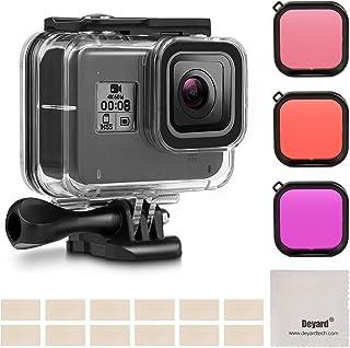 Deyard - Kit de filtros de Carcasa Impermeable para GoPro Hero 8 Color Negro con Carcasa Impermeable + 3 filtros + 12 Insertos antivaho