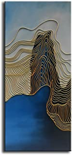 baccow - (NO.2 of The 3 Panel Gold Lines Blue Modern Abstract Hand Painted 3D Oil Paintings on Canvas Large Framed Wall Art for Living Room Bedroom Home Decorations 2448inch