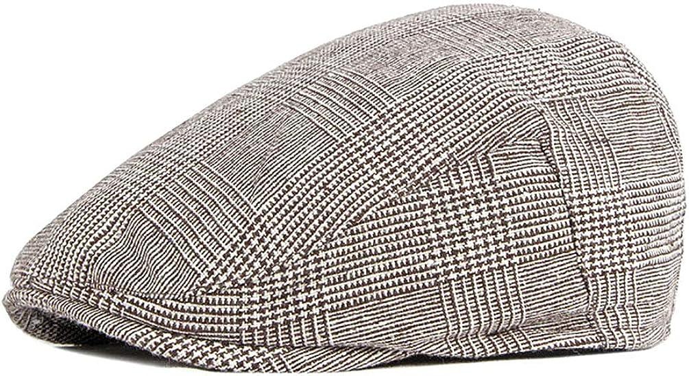 Anshili Hommes Chapeau r/églable b/éret Gatsby Newsboy Cap Casquettes Souples pour Automne-Hiver Bonnet de Ski /à Carreaux