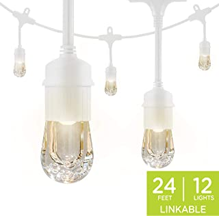 Enbrighten Classic LED Cafe String Lights, White, 24 Foot Length, 12 Impact Resistant Lifetime Bulbs, Premium, Shatterproof, Weatherproof, Indoor/Outdoor, Commercial Grade, UL Listed, 36803